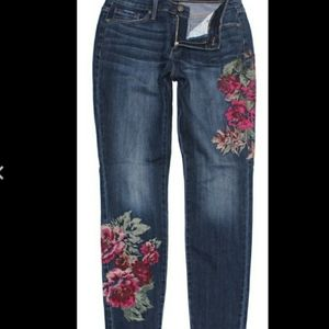 Nine West Embroidered Gramercy Ankle Skinny Jeans